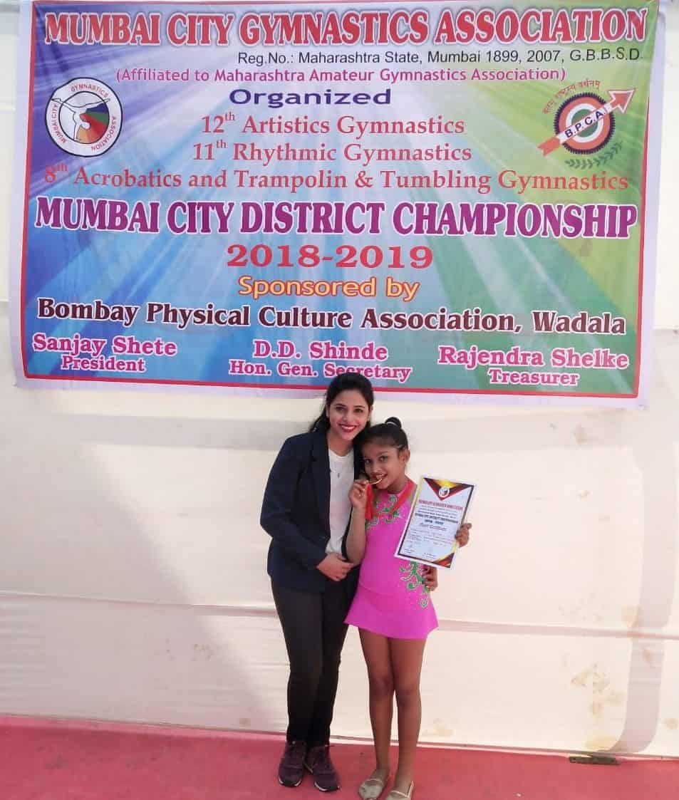 Angel Shah wins Gold at the 11th Rhythmic Gymnastics District Championship