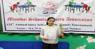 Achievement at the MSSA Table Tennis Tournament by Ms. Ananya Chande