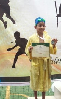 Two silvers and a bronze for Shaurya Lalwani at Meraki Inter School Swimming Competition-2019-AVM, Juhu