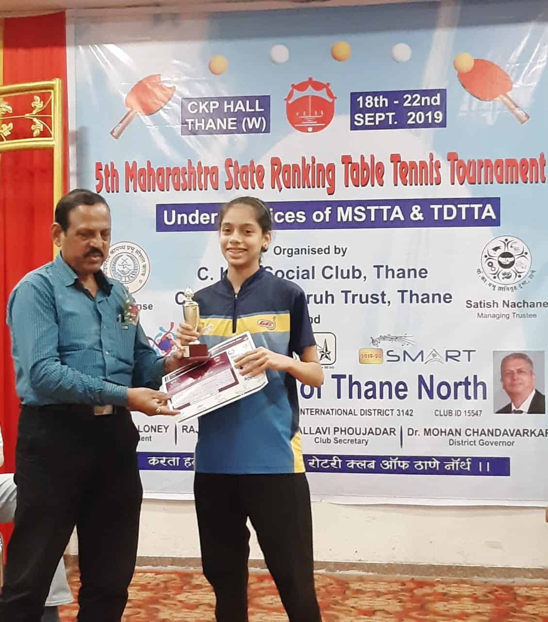 Creditable achievement of Ananya Chande of AVM Bandra West in the State Level Table Tennis Tournament!!