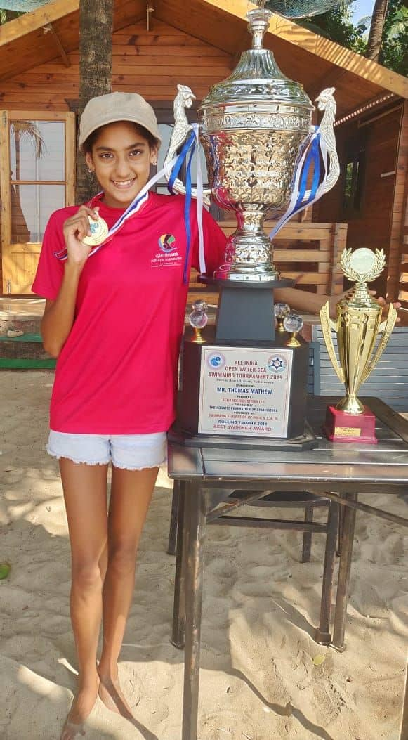 Gold Medal for Miss Ariaa Sheth at the All India Open Water Sea Swimming Tournament