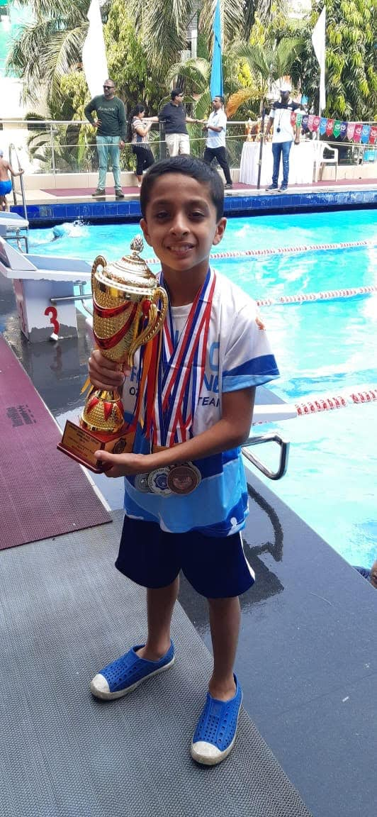Runners Up trophy for ace swimmer Shray – AVM, Juhu