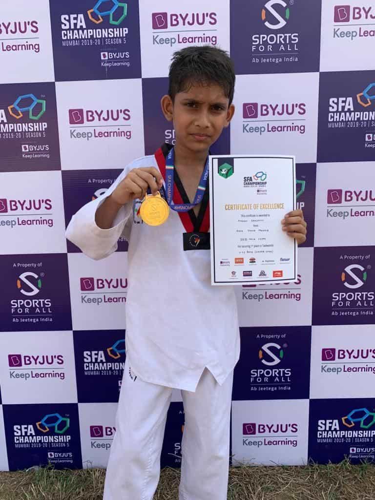 Master Amogh Sanjeevi bags Gold at the SFA Taekwondo Championship