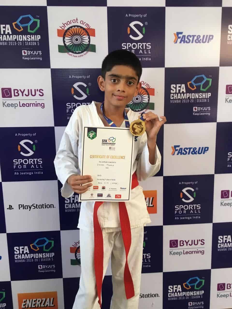 Master Ishaan Mahale secured the Gold at the SFA Karate Kumite Tournament