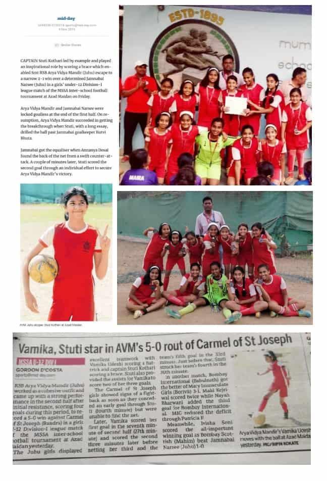 Achievement in MSSA Girls football – AVM Juhu