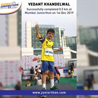 Master Vedant Khandelwal from Prep II B AVM JUHU successfully completed 0.5km run in Juniorthon 2019.