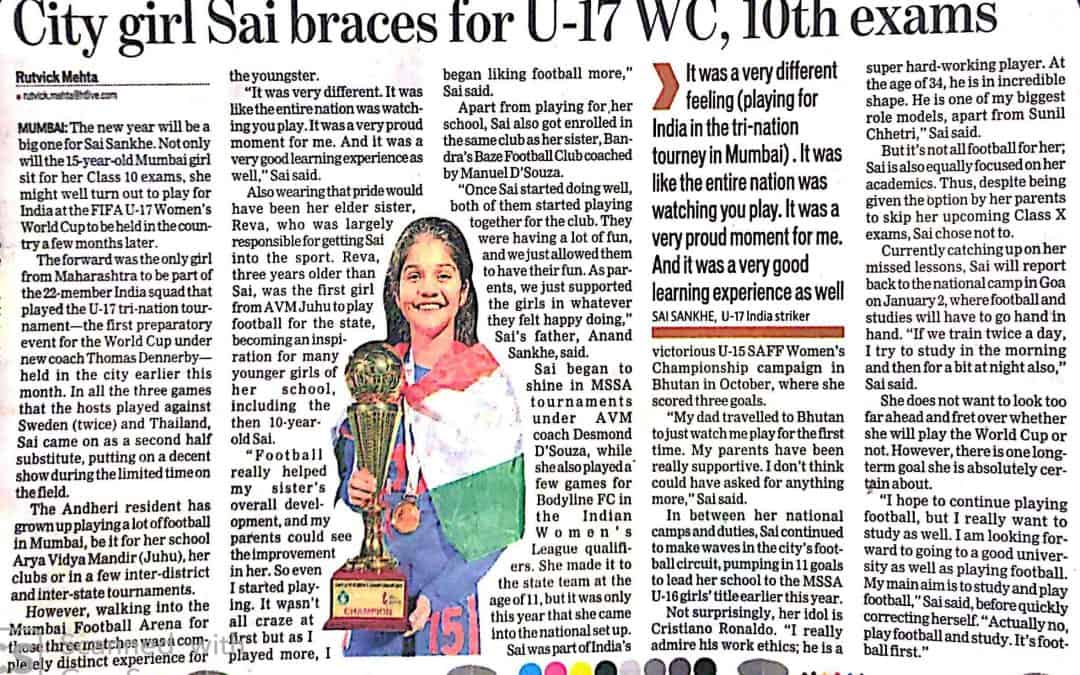 Yet another feather in the Cap of AVM Juhu's Games Captain – Ms. Sai Sankhe