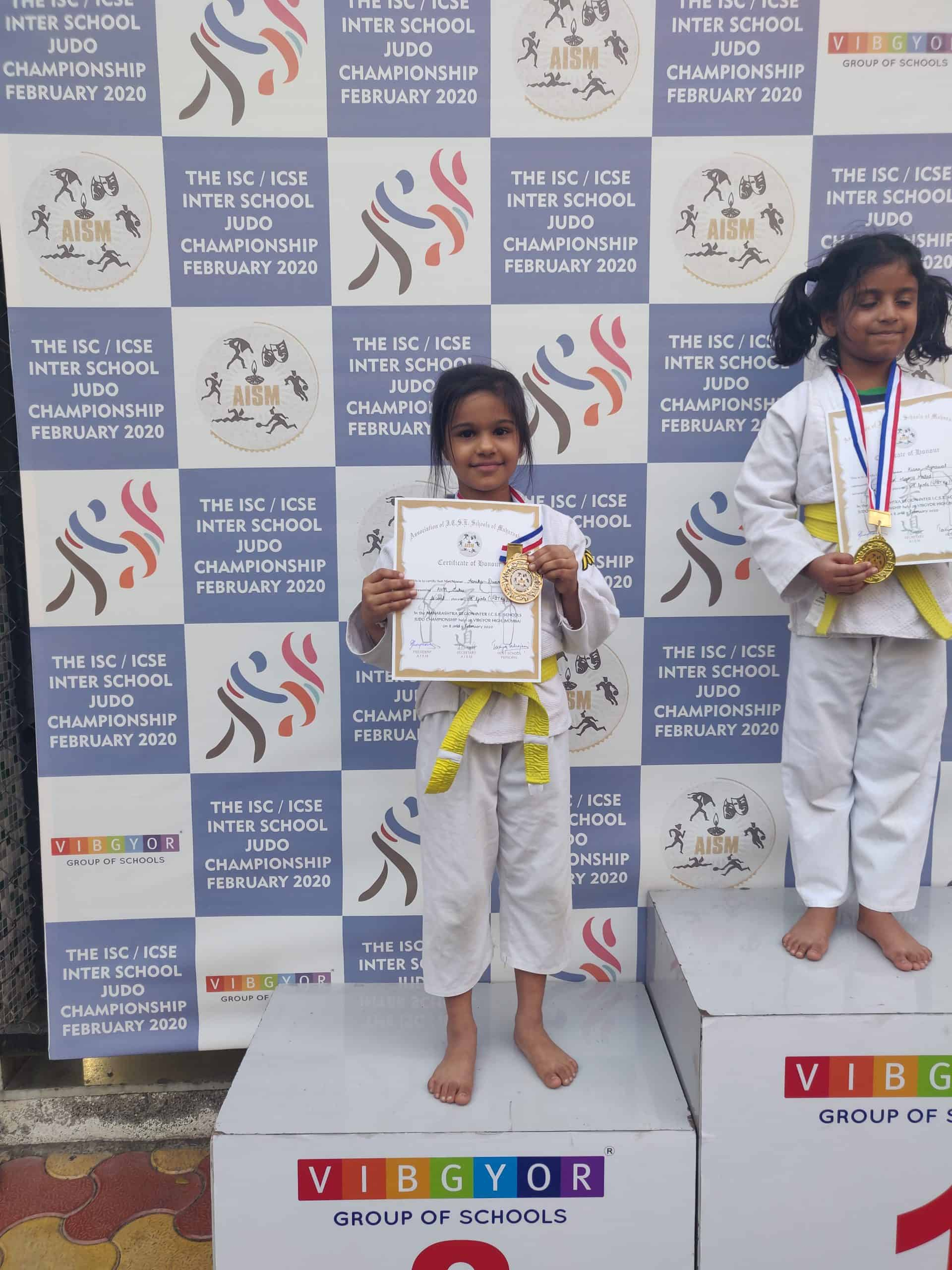 AISM Judo medals for Aarika, Palash and Kavya – AVM, Juhu