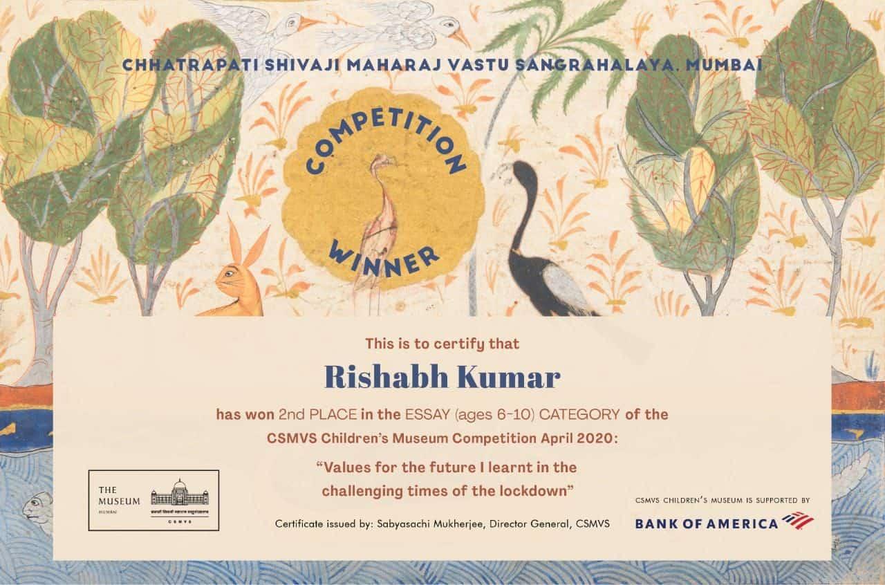 The CSMVS Children's Museum Competition winner Rishabh Kumar