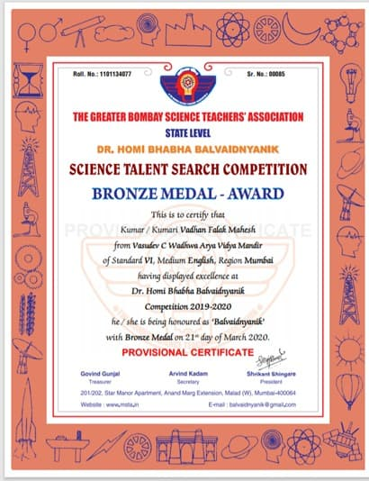 Miss Falak Vadhan secures a medal at the Dr.Homi Bhabha Balvaidnyanik Competition