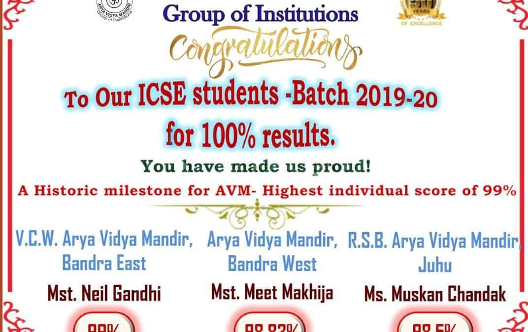 Congratulations to our ICSE students batch 2019 -2020!!