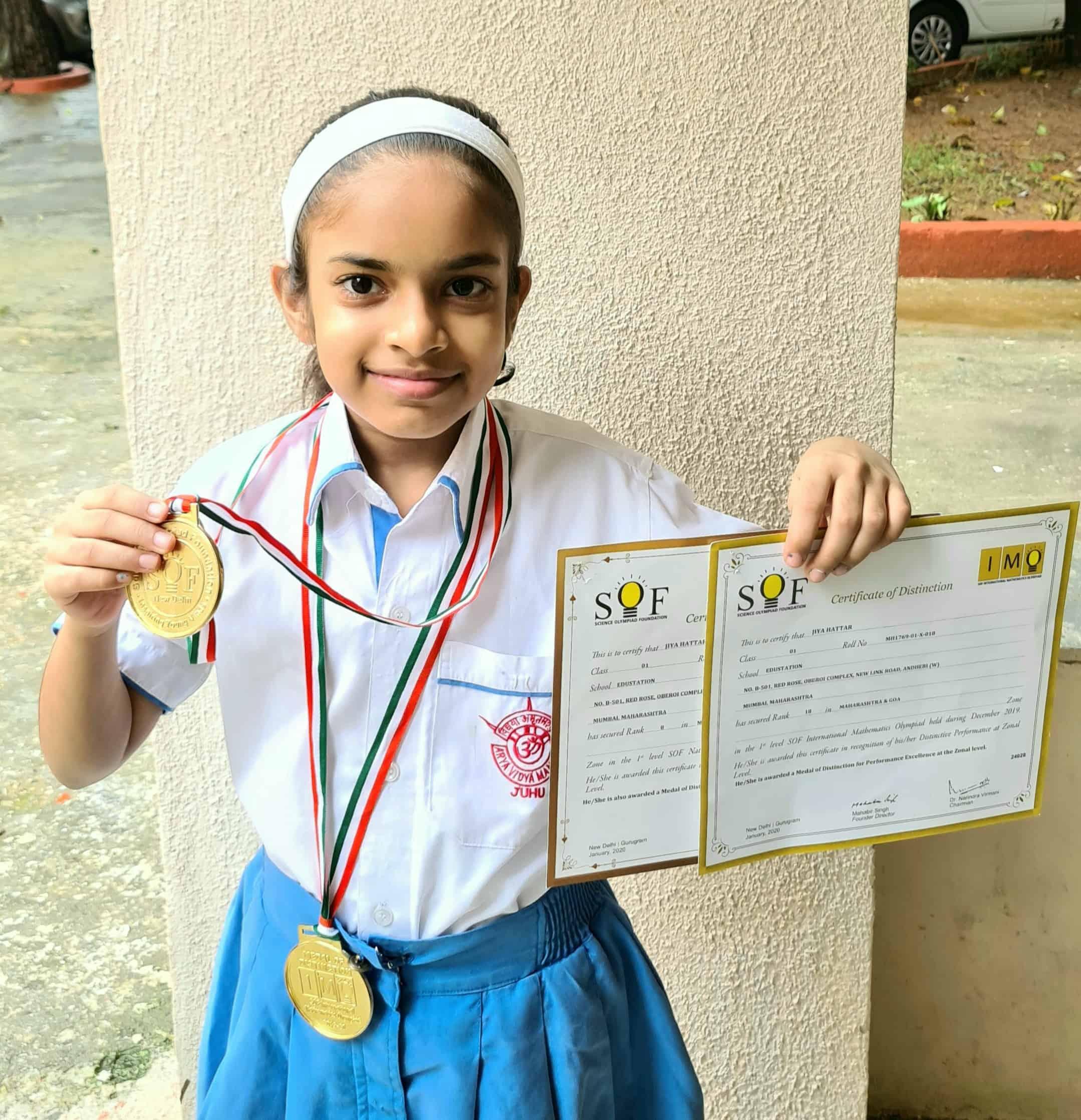 Jiya Hattar's meritorious achievement at Mathematics and Science Olympiads– AVM, Juhu