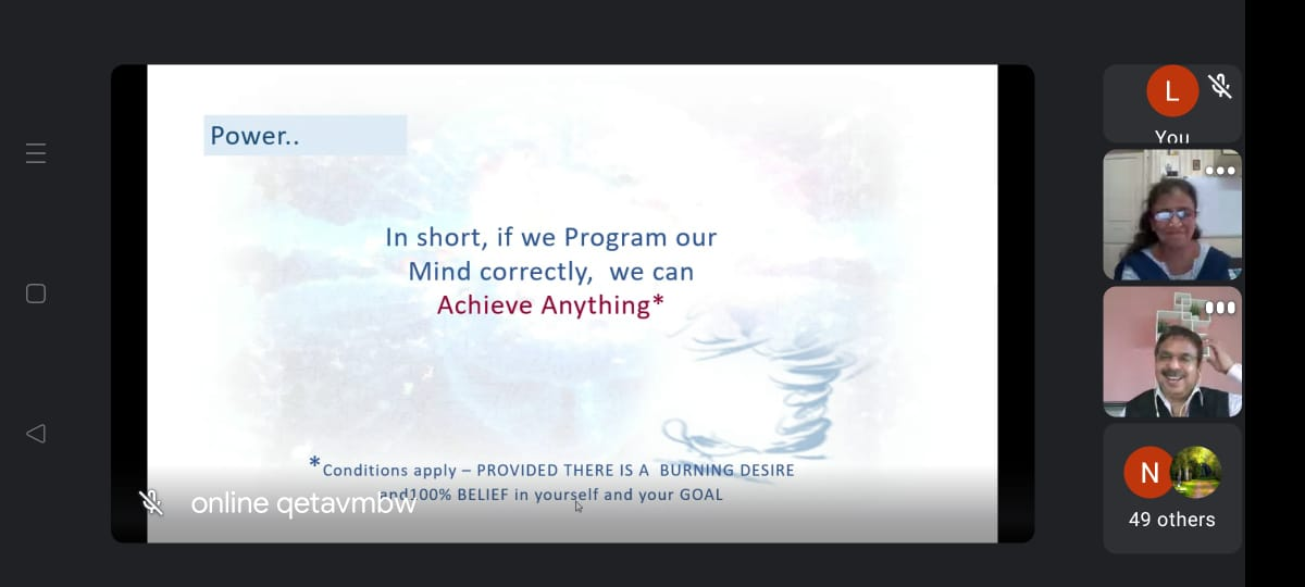 The Power of the Mind – A QET Session by Mr.Praveen Sagar