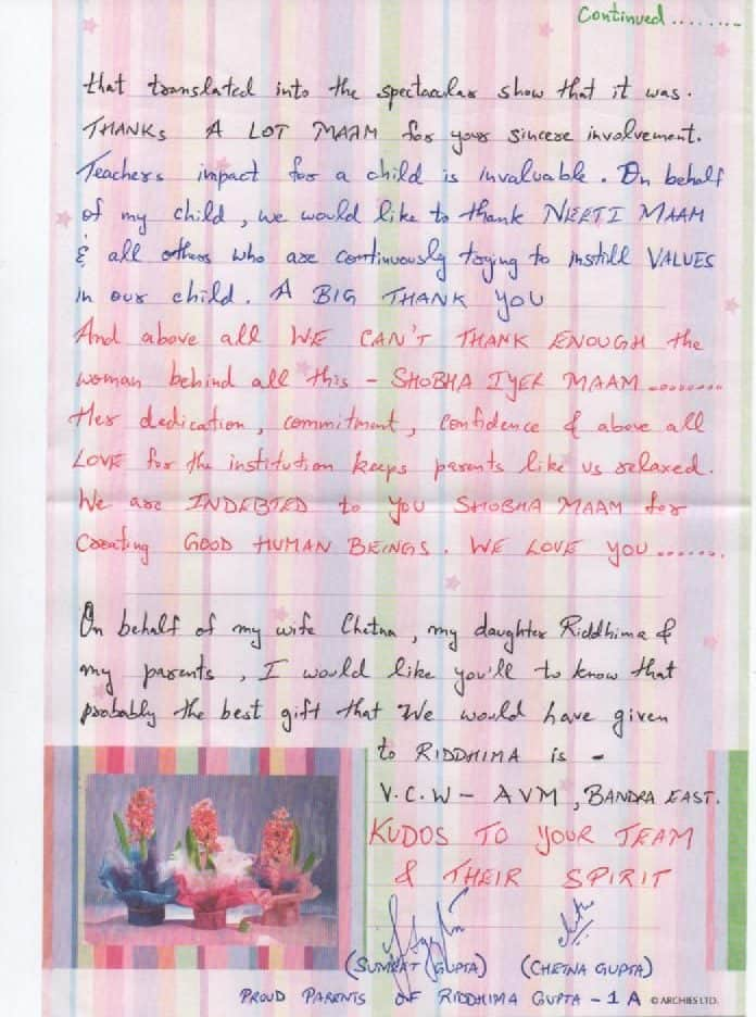 Appreciation Letter for Primary Balsatsang- Play School 'D