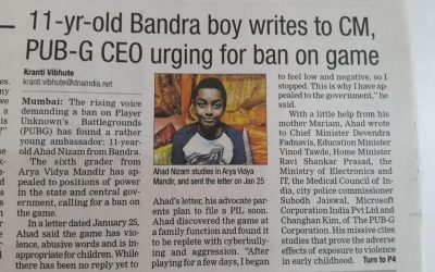 A thoughtful mind !! (Letter written by our student to CM and CEO of PUB-G to ban the game)