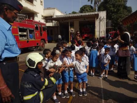 Prep I of AVM Juhu on an educational field trip to Andheri Fire Station.