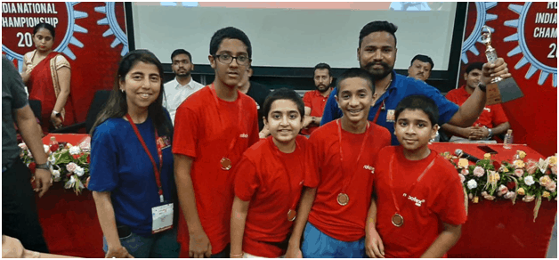 The Smart Machine learners of Arya Vidya Mandir Bandra West shine at the Robotex India National Event!! a National Event 2019!!