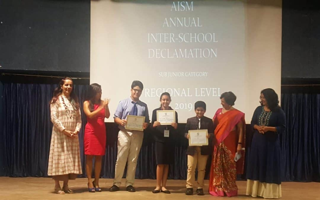 Ms. Muskaan brings Laurels  to AVMBW at the AISM Declamation Competition