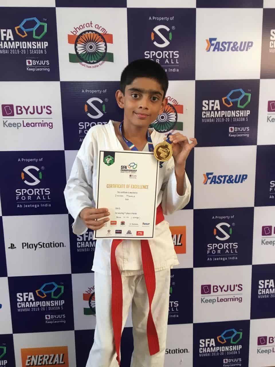Master Ishaan Mahale secured the Gold at the SFA Karate Kumite Tournament