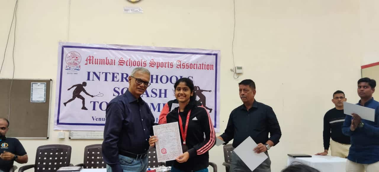 Achievement of AVM Juhu's Ms. Nayna Taneja of Std VIII in Squash
